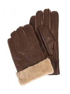 Aston Leather and Sheepskin Gloves in Rugged Castano
