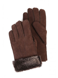 Aston Sheepskin Gloves in Suede Brown Brisa