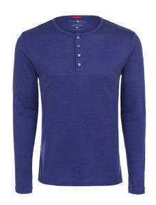 Stone Rose Blue Melange Knit Henley