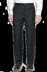 Berle Black Watch Wool Plaid Flat Front Trouser