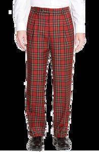 Berle Royal Stewart Wool Plaid Pleated Trouser