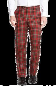 Berle Royal Stewart Wool Plaid Flat Front Trouser