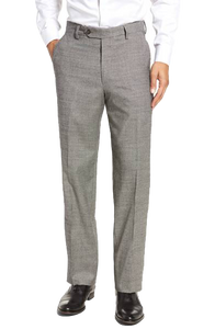Berle Black & White Houndstooth Check Flat Front Pant