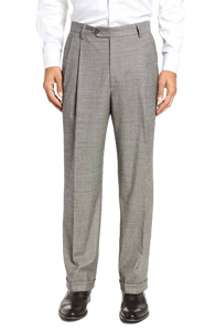 Berle Black & White Houndstooth Check Pleated Pant