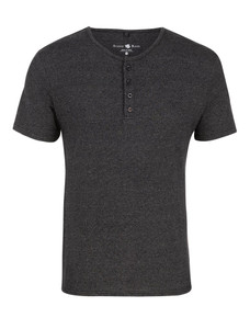 Stone Rose Charcoal Triblend Short Sleeve Henley