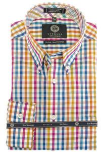 Viyella Long Sleeve Button-Down Plaid Shirt in Multi