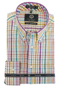 Viyella Long Sleeve Button-Down Plaid Shirt in Plum Multi