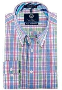 Viyella Long Sleeve Button-Down Plaid Shirt in Blue