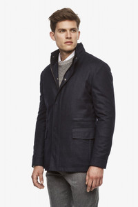 Cardinal of Canada McGuire Straight Fit Wool Car Coat in Navy Melange