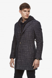 Cardinal of Canada Plaid Spencer Loro Piana Overcoat in Navy