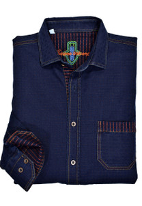 Marcello Indigo Shirt with Contrasting Stitching