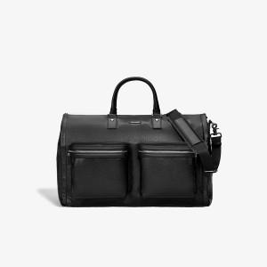 Hook & Albert Black Leather Garment Weekender Bag