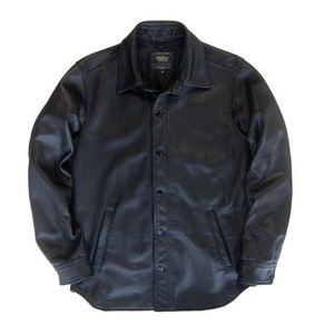 Golden Bear Dillon CPO Leather Shirt in Black --Contemporary Fit