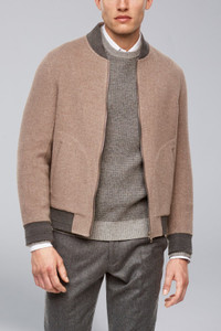 Cardinal of Canada Brady Cashmere Blend Reversible Bomber in Camel & Grey