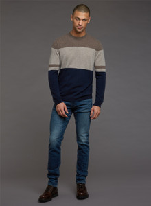 Autumn Cashmere Colorblock Stripe Crew