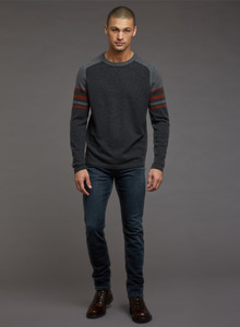 Autumn Cashmere Striped Saddle Crew