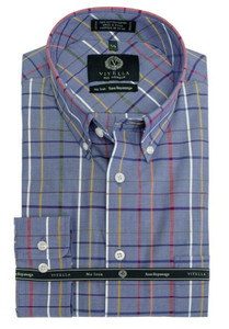 Viyella Button-Down Collar Long Sleeve No Iron Sport Shirt --Blue Plaid