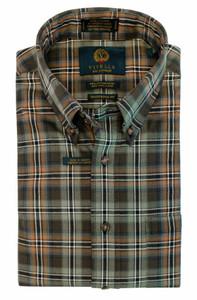 Viyella Long Sleeve Sport Shirt in Moss Green Plaid