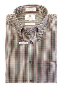 Viyella Long Sleeve Sport Shirt in Beige & Burgundy Check