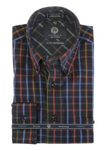 Viyella Button-Down Collar Long Sleeve No Iron Sport Shirt --Multi Navy