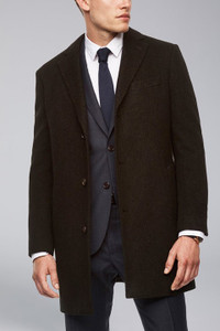 Cardinal of Canada Stone Slim-Fit Wool Overcoat in Navy-Olive