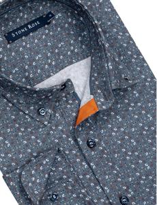 Stone Rose Music Print Long Sleeve Shirt in Blue