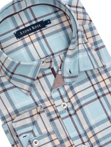 Stone Rose Plaid Lyocell Long Sleeve Shirt in Blue