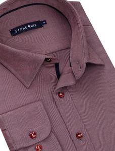 Stone Rose Modal Knit Long Sleeve Shirt in Dark Berry