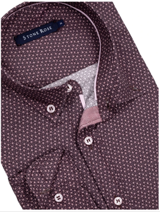 Stone Rose Ditsy Print Long Sleeve Shirt in Berry