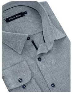 Stone Rose Blue Modal Knit Long Sleeve Shirt