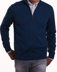 Romeo Merino Half-Zip Sweater in Blue Insignia