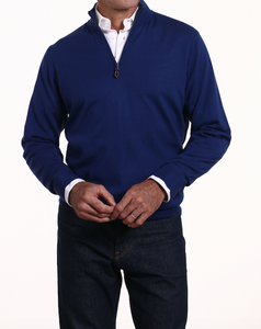 Romeo Merino Half-Zip Sweater in Prussian Blue