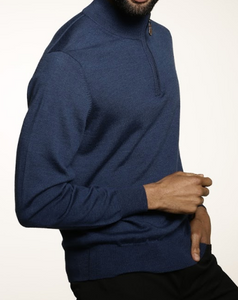 Romeo Merino Half-Zip Sweater in Lapis