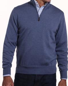 Romeo Merino Half-Zip Sweater in Blue Indigo