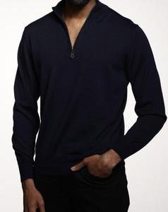 Romeo Merino Half-Zip Sweater in Blue Peacoat