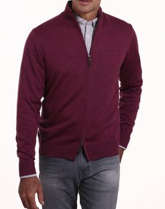 Romeo Merino Full Zip Sweater in Sangria