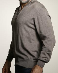 Romeo Merino Half-Zip Sweater in Brown Brindle