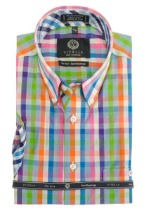 Viyella Long Sleeve Button-Down Plaid Shirt in Bright Multi