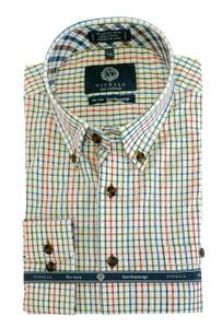 Viyella Long Sleeve Button-Down Plaid Shirt in Thin Line Multi