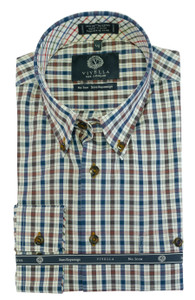Viyella Long Sleeve Button-Down Plaid Shirt in Darker Multi