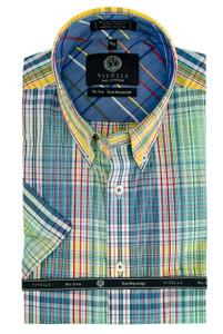 Viyella Long Sleeve Sport Shirt in Bright Mix Plaid