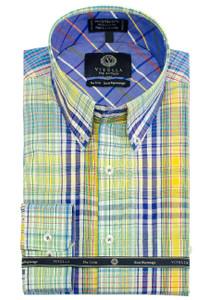 Viyella Long Sleeve Sport Shirt in Bright Combo Plaid