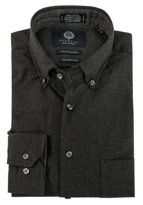 Viyella Long Sleeve Button-Down Sport Shirt in Grey