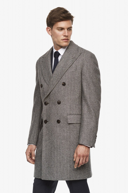 Cardinal of Canada Shepard Double-Breasted Wool Overcoat in Black & White