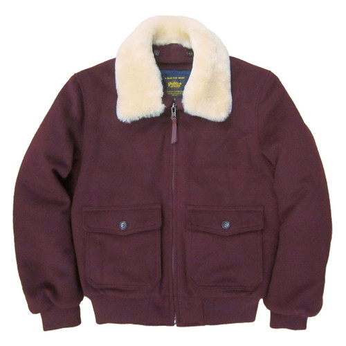 Golden Bear Contemporary Fit Lux Wool Bomber in Burgundy --Slim Fit