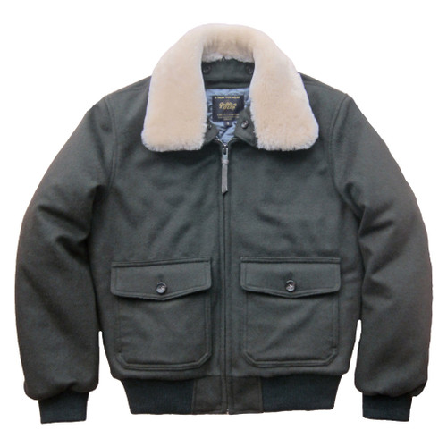 Golden Bear Contemporary Fit Lux Wool Bomber in Loden --Slim Fit