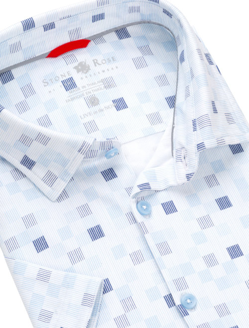 Stone Rose Light Blue Stripe Performance Knit Short Sleeve Shirt