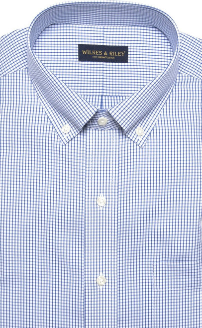 Wilkes & Riley Blue Check Pinpoint Oxford Button-Down Collar --Tailored Fit
