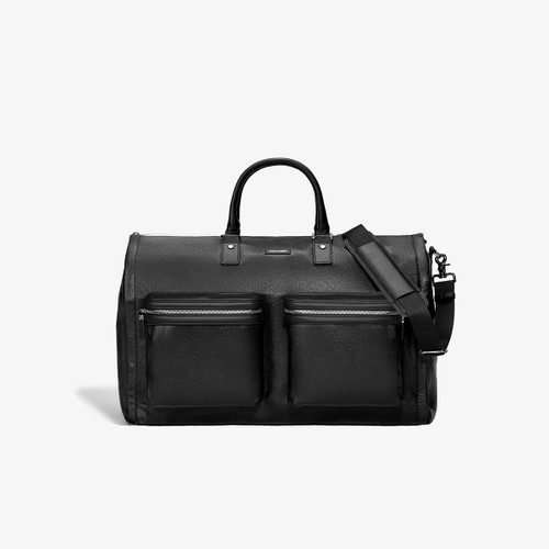 Hook & Albert Black Leather Garment Weekender Bag