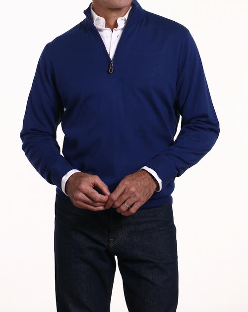 Romeo Merino Half-Zip Sweater in Prussian Blue